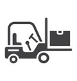 forklift delivery truck glyph icon logistic vector image vector image