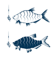 hook with worm and bream design template vector image vector image