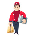 hotel worker bellboy or porter isolated male vector image vector image