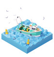 isometric fishing boat in sea vector image vector image