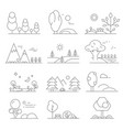 landscape outline mono line symbols of trees and vector image