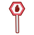 line color metal frame notice with stop sign vector image vector image