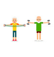 man and woman doing exercises with dumbells and vector image