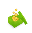 open cardboard box with golden coins for St vector image vector image