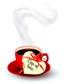 Red cup of coffee with a heart shaped valentine