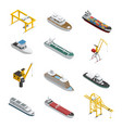 sea and river vessel isometric icons set vector image vector image