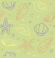 seamless pattern of seashells and starfishes vector image vector image