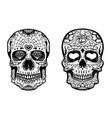 set hand drawn sugar skulls on white background vector image vector image