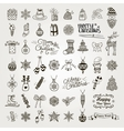 Set of Hand Drawn Artistic Christmas Doodle Icons vector image