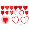set of red grunge heart shapes vector image