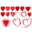 set red grunge heart shapes vector image vector image