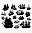 ship and boat silhouette vector image vector image