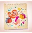 shopping girl note paper cartoon vector image vector image