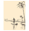stand up paddling hand drawing vector image