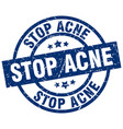 stop acne blue round grunge stamp vector image vector image