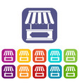 street kiosk icons set flat vector image vector image