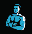 strong and muscular bodybuilder weightlifting vector image