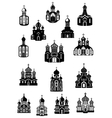 Temple church fane and shrine icons vector image vector image