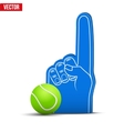 Tennis Sports Fan Foam Fingers and ball vector image