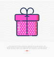 thin line icon of gift box or present for birthday vector image
