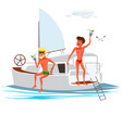 two cartoon men with cooling drinks on yacht vector image vector image
