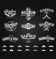 typographic barber shop emblems chalk drawing vector image