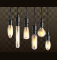 vintage incandescent bulbs realistic set vector image vector image