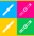 watch sign four styles of icon on vector image vector image