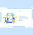 website template with people leaving five star vector image