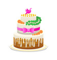 wedding celebratory cake with flowers bow vector image