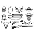 wild west design elements cowboy weapon hat lasso vector image vector image
