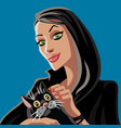 cartoon black witch and black cat vector image