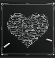 chalkboard sketch of hand drawn ribbon heart vector image