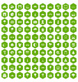 100 view icons hexagon green vector image vector image