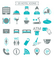 25 hotel services icons Silhouette Color block vector image vector image