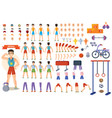 athlete sportsman cartoon constructor man vector image vector image