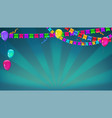 banner with sunbeams in broadway style garland of vector image