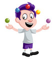 boy juggling on white background vector image