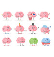 brain character emoji emoticons set funny cartoon vector image vector image