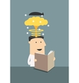 Businessman reading book with brain explosion vector image