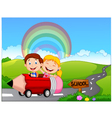 Cartoon little kid go to school vector image vector image