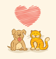 Cat and dog and heart vector image vector image