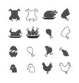 chicken food legs icons set vector image vector image