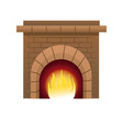 christmas chimney fire brick decoration vector image