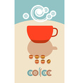 Coffee beans steam over cup Flyer banner menu vector image vector image
