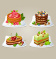colorful decorative cakes on plates set vector image vector image