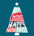 Colorful Merry Christmas and Happy New Year tree vector image