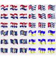 Croatia Cuba Belize Buryatia Set of 36 flags of vector image