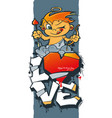 cupid with arrows and hearts valentine graffiti vector image vector image
