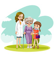 Doctor and two patients in the field vector image vector image